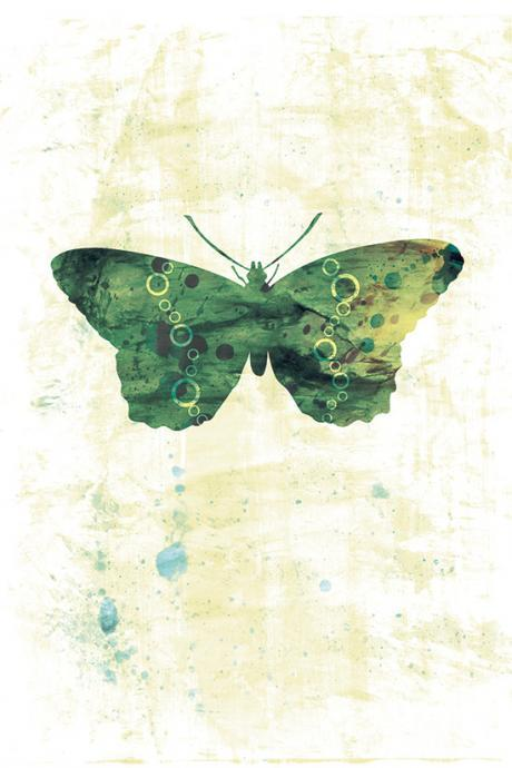 Green Butterfly Art Print - 5 x 7 - Jackie, Home Decor, Nursery Art, Fine Art Print, arthemis butterfly