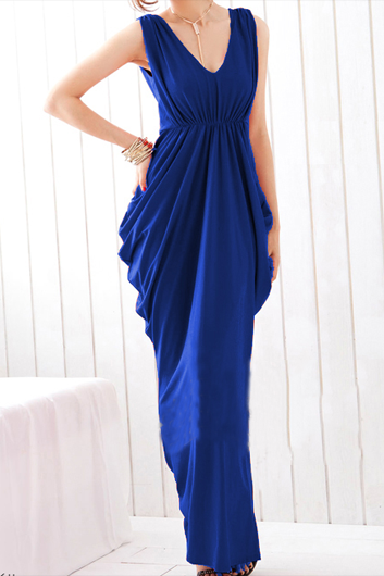 Fashion And Sexy Sleeveless V Neck Shiny Maxi Dress - Blue