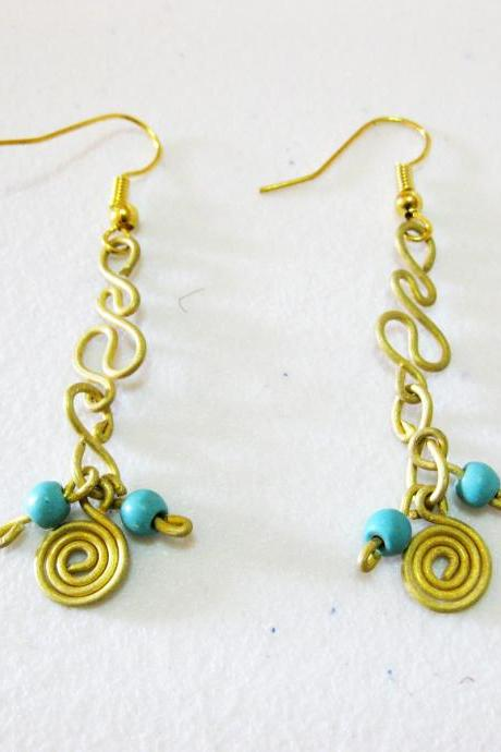 Swirl Brass Earrings, Brass Dangle Earrings with beaded Stone, Fashion Designs, Thailand Handmade Jewelry. (JE1013-TU)