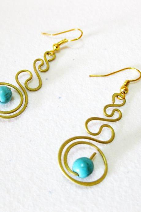 Swirl Brass Earrings, Brass Dangle Earrings with Turquoise Beads, Fashion Designs, Thailand Handmade Jewelry. (JE1014-TU)
