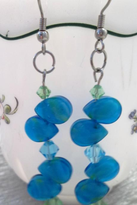 Turquoise glass beads and green Swarovski crystal earrings