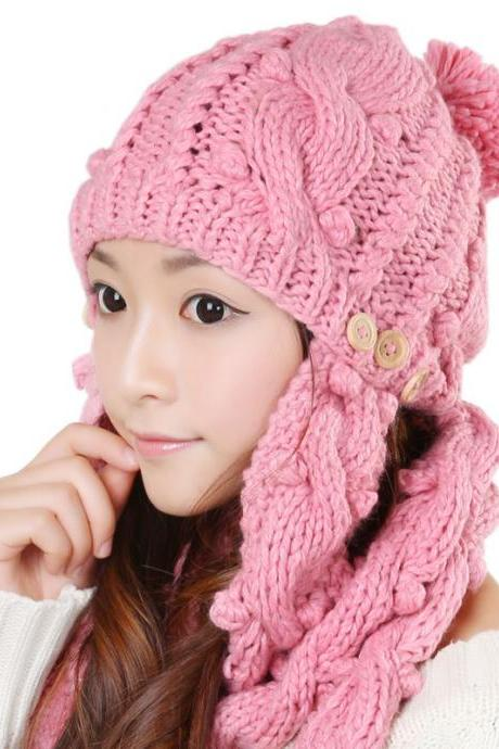 Free shipping Winter Women Knitted Hat Set