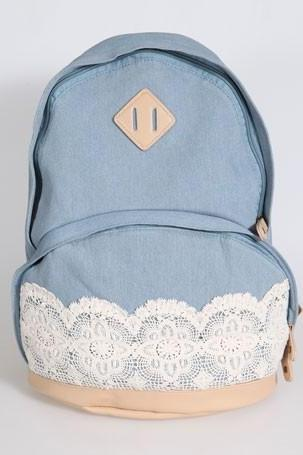 Cute Denim Authentic Lace Backpack