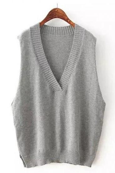 Loose Sleeveless Pullover V-Neck Knitting Vest Sweater For Women