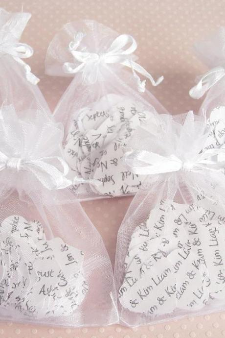 10 x Confetti Organza Bag Favors with Personalised Confetti Hearts
