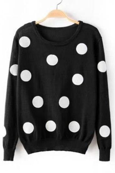 Cute Polka Dots Print Long Sleeves Pullover Round Neck Knitting Sweater - Black