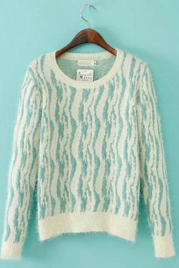 Casual Striped Print Slim Pullover Knitting Sweater