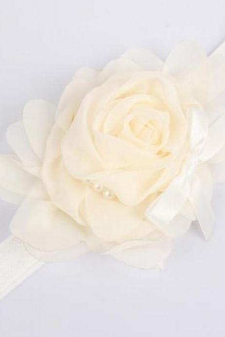 Ivory Headbands Rose Headband Girls and For All Ages-Ivory Hair Accessories,Ivory Newborn Props