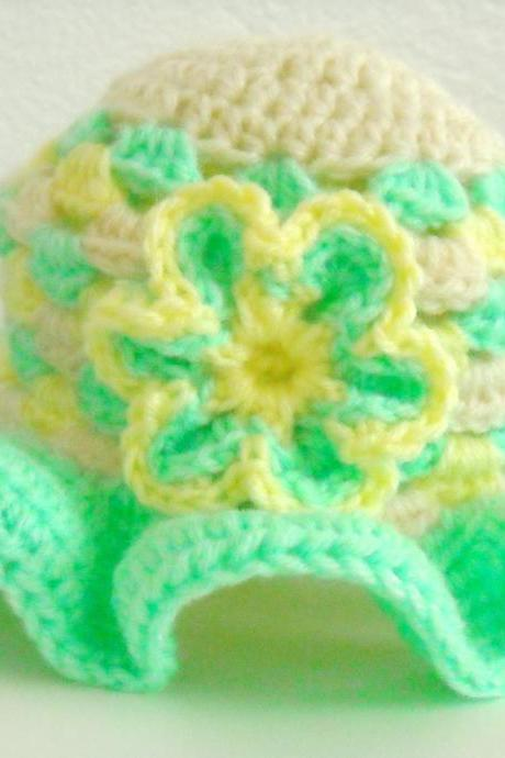 Crochet Baby Hat Granny Square Mint Green and Yellow