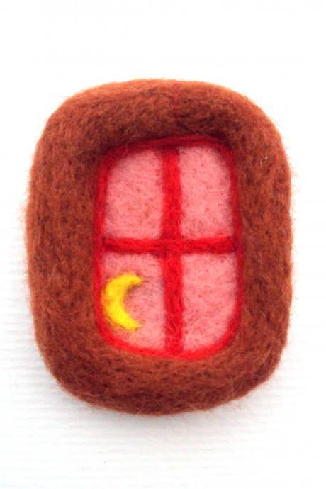 Felt brooch, Orange and red window, needle felted crescent moon badge, made to order.