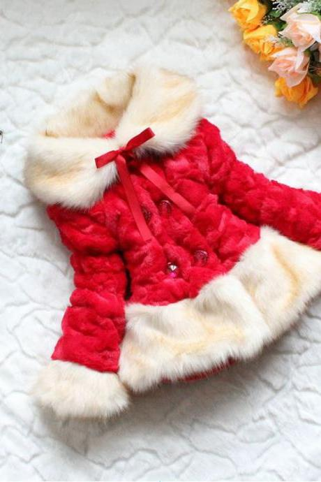 Super Soft Luxurious Red Jacket for Girls-Red Coat Down Parka Coats