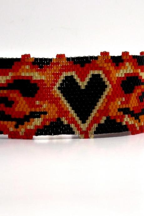 Bead Woven Bracelet Punk Heart and Flame Peyote Stitch Cuff