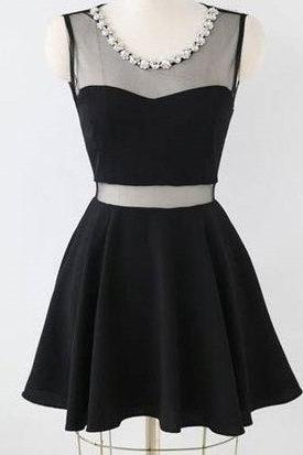 Charming Short Little Black Dress With Mesh Insert