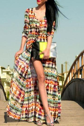 Bohemian Enchanting Print Design Button Closure Maxi Dress