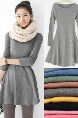 Long-sleeved wool dress wild dress AA827CD