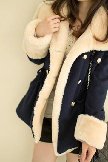 Double Breasted Fleece Lined Beam Waist Worsted Women Coat