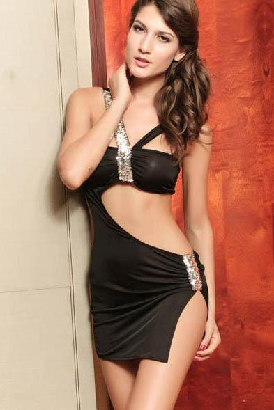 Free Shipping Sequin Spaghetti Strap Sleeveless Spandex Sexy Dress