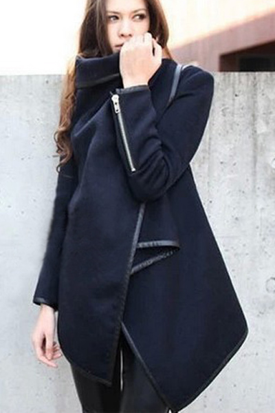 New Style Turndown Collar Long Sleeves Puff Zipper Designed Solid Blue Long Trench Coat