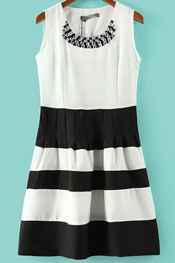 Fashion Color Block Round Neck Sleeveless Mini Dress