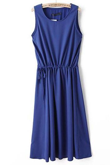Blue Sleeveless Round-neck Drawstring Short Dress