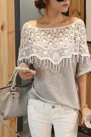 weet Lace Hollow Bat Sleeve T Shirt #090703WM