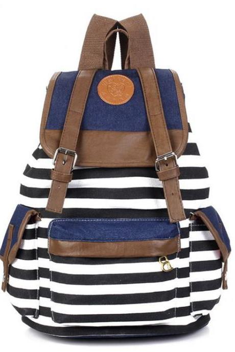 Canvas horizontal stripes school student girl backpack