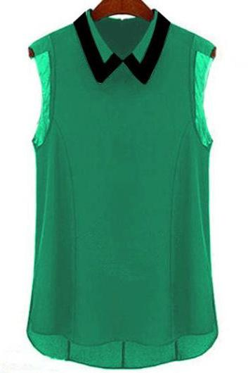 Casual Turndown Collar Sleeveless Black T Shirt for Woman - Green
