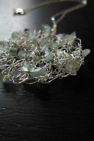 Adrift Necklace: knit wire with aquamarines on a16' sterling silver chain