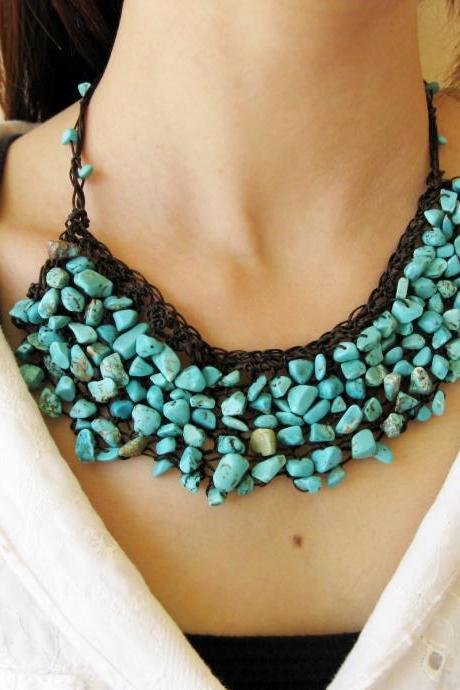 Knitting Necklace Blue Turquoise with Wax Thread, Boho Hippie Style, Thailand Handmade Jewelry. (JN1005-TU)