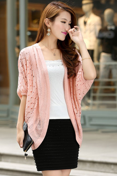 Half Bat Sleeves Hollow-out Pink Regular Cardigan Sweater