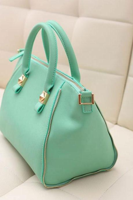 Newest Best Fashion Faux PU Solid Color Zipper Up Dumpling Shape Soft Hand Bags