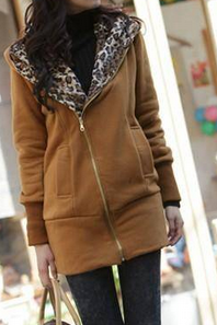 Casual long-sleeved hooded leopard sweater coat thick AX090901ax