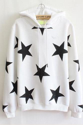 Cute Lovely star loose fleece hoody
