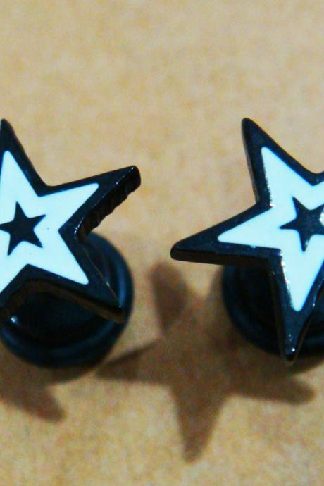 16g STAR fake plugs ear plug rings earrings body piercing jewelry