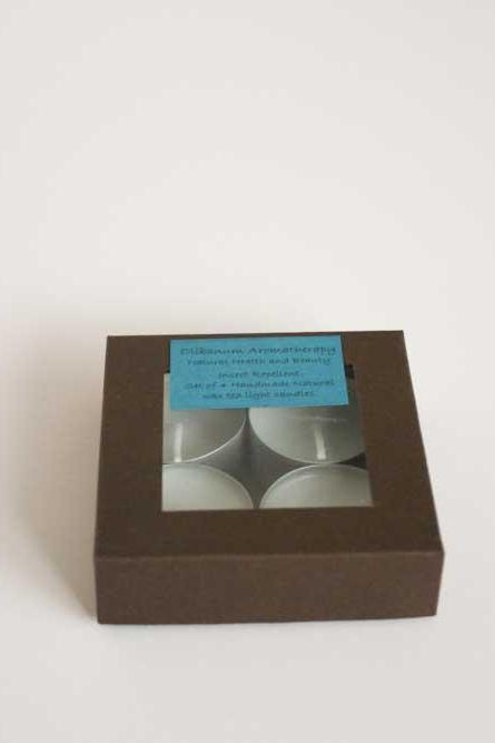 Natural wax tea light candles set of 4 insect repellent, handmade by Olibanum Aromatherapy in the UK
