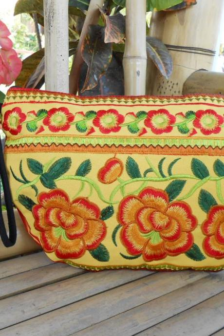 YELLOW HALF MOON Clutch Bag, Handmade Embroidered w/ Yellow Fabric Chinese Hmong Hilltribe in Thailand. (KP1054-GOYE)