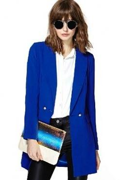 Cheap New Style Double Buckle Design Asymmetrical Hem Solid Blue Polyester Blazer