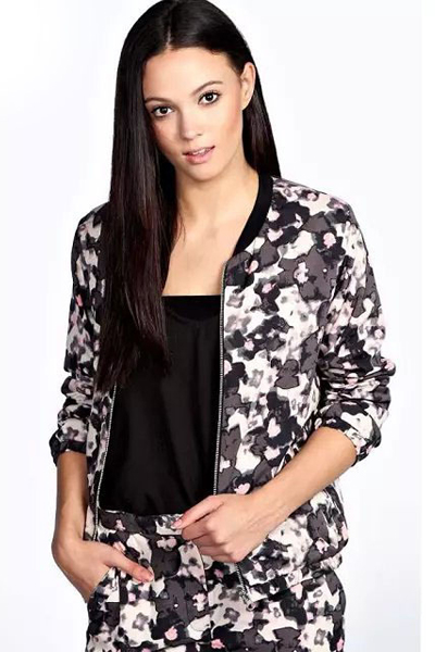 Cheap Casual O Neck Three Quarter Sleeves Zipper Design Leopard Print Regular Jacket