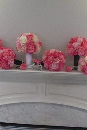 Real Touch Wedding Package - White, Soft Pink and Fuchsia Roses