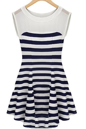 Fashion Striped Round Neck Sleeveless Dress for Lady