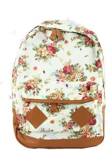 Flower pattern cotton fashion girl backpack