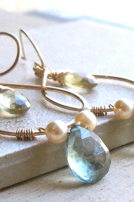 Gold Filled Gemstone Hoop Earrings, Wire Wrapped Gold Dangle Hoops
