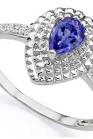 Tanzanite and Diamond Platinum over Sterling Silver Ring