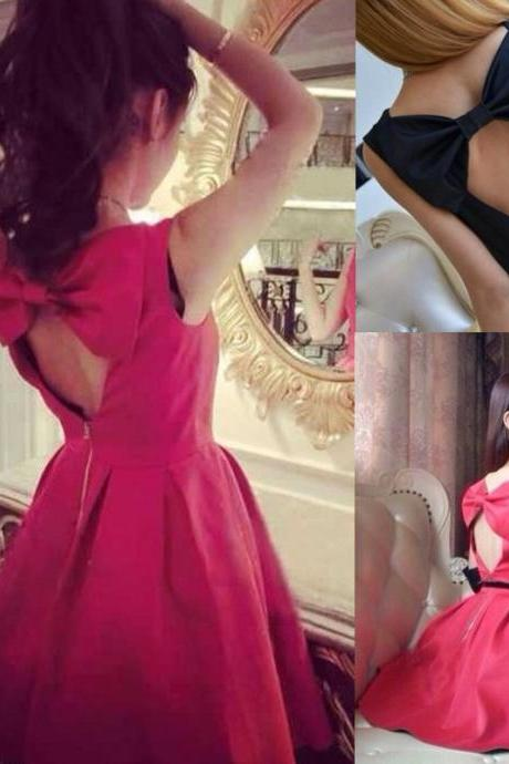 Korean Women Open Bow Back Sleeveless Ball Gown Dress