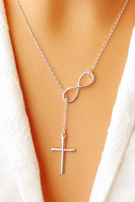 New Infinity Cross Pendant Necklace Women Girl Wedding Event Necklace Jewelry