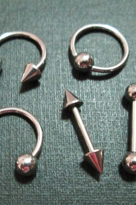 16g Eyebrow Rings Nostril Circular Bar Barbell Lip Ear CBR BCR Captive Bead Ring LOT 5 Body Piercing