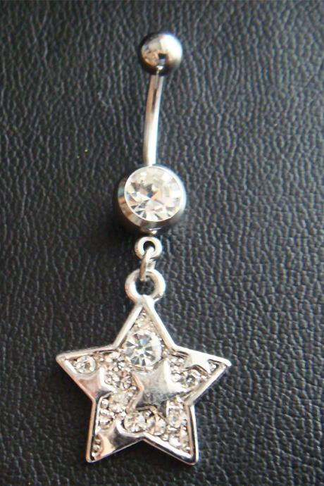 14g~3/8 Star Dangle Belly Button Navel Rings Ring Bar Body Piercing Jewelry