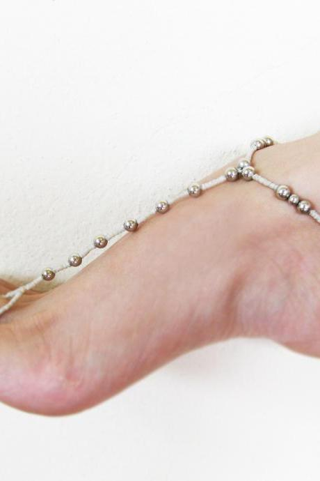 Anklet-toe-Ring, Barefoot Sandals - footwear, Silver Bead, Wax Cord, Bohemian, Anklets Handmade Thailand Jewelry. (JA1015)