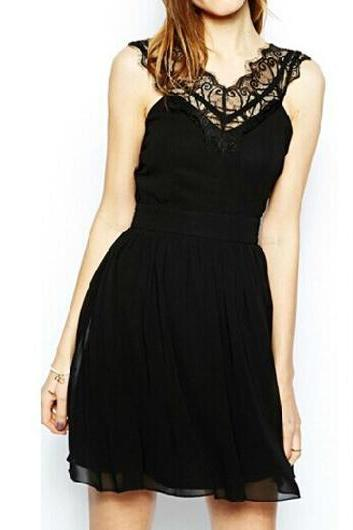 Sexy Sleeveless Open Back Black Dress with Lace