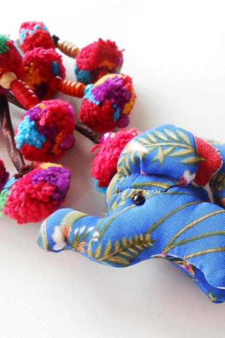 Blue Elephant & Colorful Pom Poms Key chain Zip Pull Bag Accessory Decoration by Handmade. (AC1004-BL)